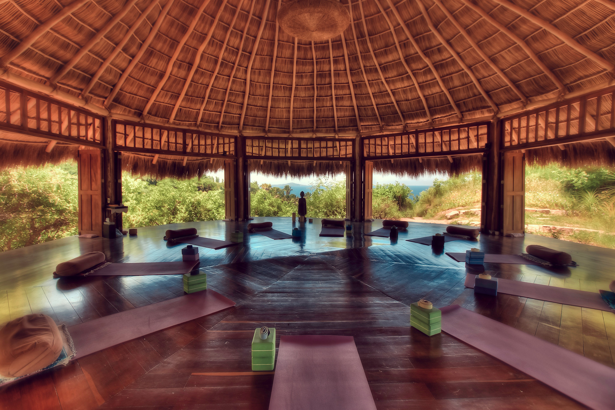 Yoga mats and a view on a MedTreks Yoga Retreat