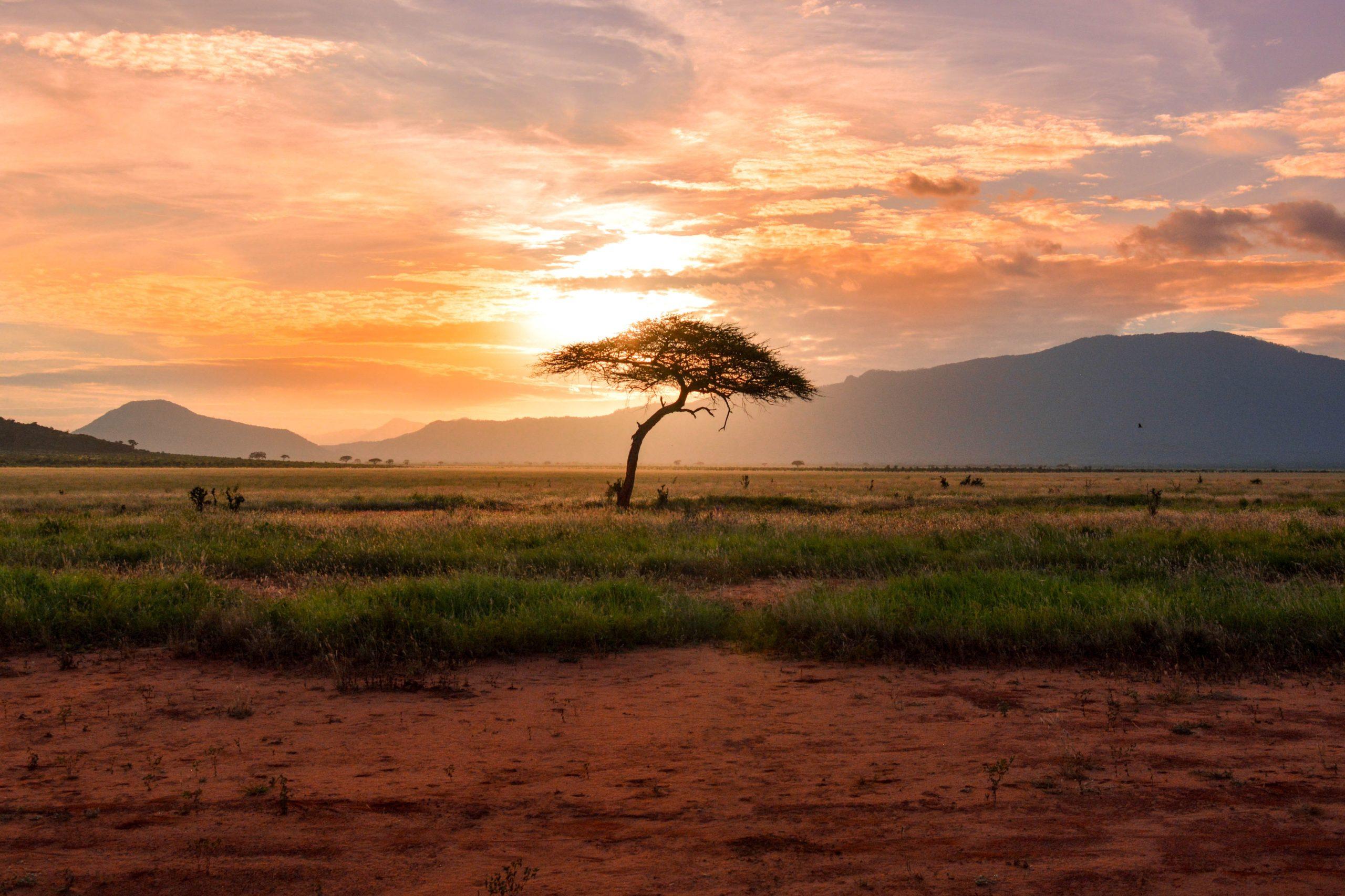Sunset at Samburu National Reserve on safari extension for MedTreks Kenya